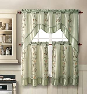 Daphne Embroidered Kitchen Curtain Set By Victoria Classics   Assorted  Colors (Sage)