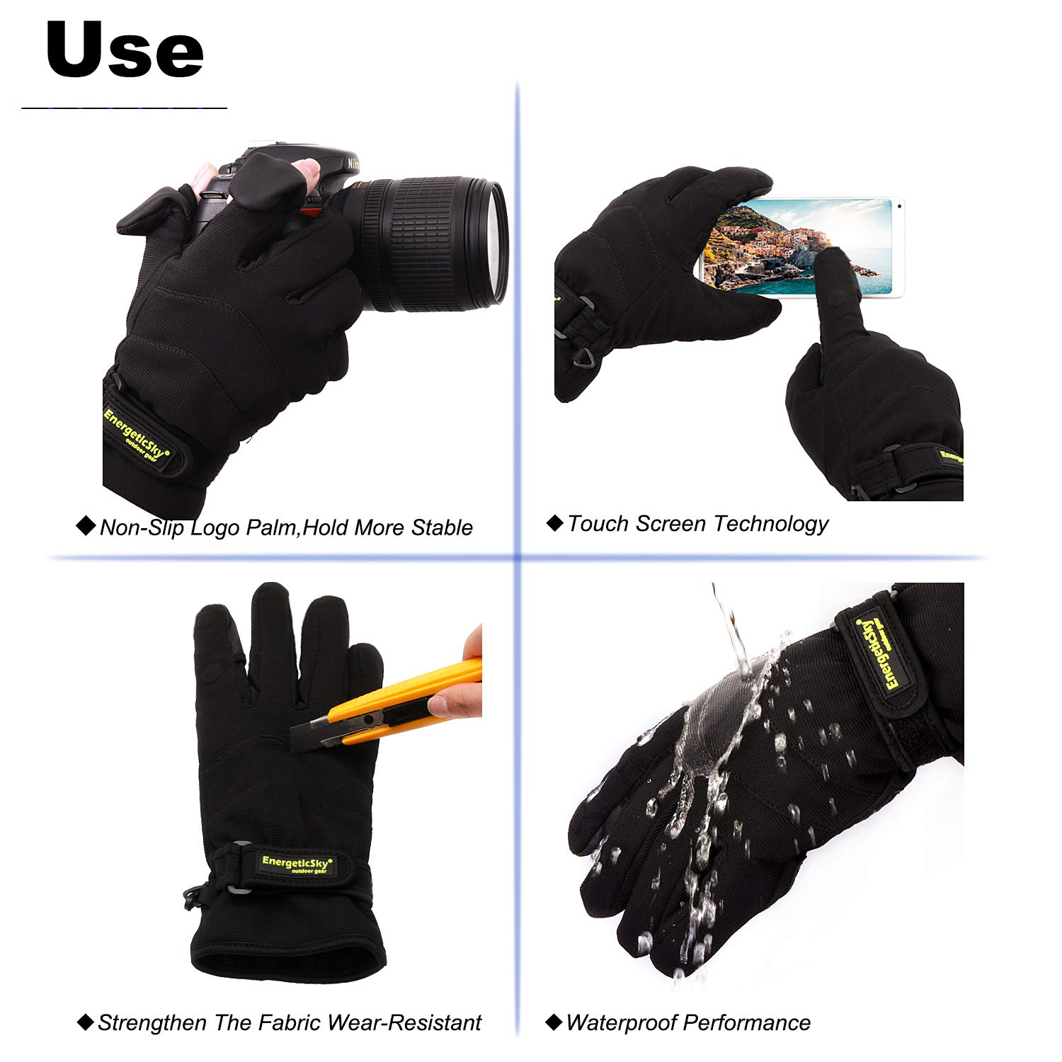 EnergeticSky Waterproof Winter Gloves,3M Thinsulate Ski /& Snowboard Gloves for Men and Women,Touchscreen Gloves for Fishing,Photographing,Hunting Outdoor Activities.