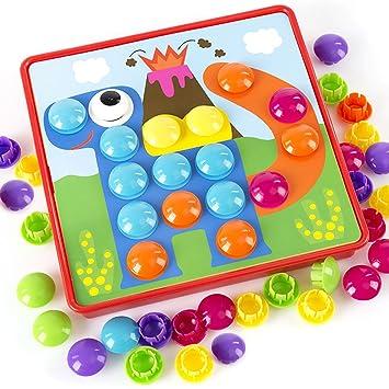 Efanty Juego De Mosaico Puzzle 3d Con Botones A Forma De Champiñón