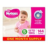 Huggies Ultra Dry Nappies, Girls, Size 5 (13-18kg) 144 Count, One-Month Supply