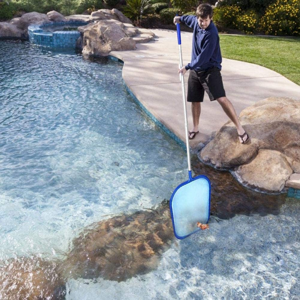 Spas and Fountains Cleaning Pool Leaf Skimmer Net with 5-Section Detachable Sturdy Frame Aluminium Pole,Pool Leaf Rake Fine Mesh Net for Swimming Pools Hot Tubs