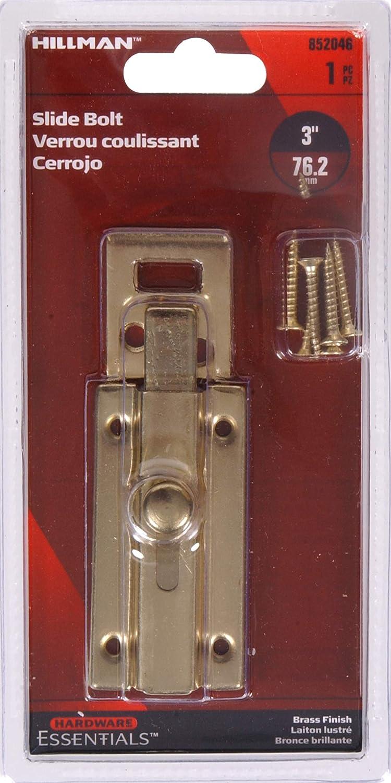Hillman Hardware Essentials 852046 Surface Slide Bolt Brass 3 The Hillman Group