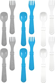 product image for RE-PLAY Made in The USA 12pk Fork and Spoon Utensil Set for Easy Baby, Toddler, and Child Feeding in Sky Blue, Grey and White | Made from Eco Friendly Heavyweight Recycled Milk Jugs | (Modern Blue)