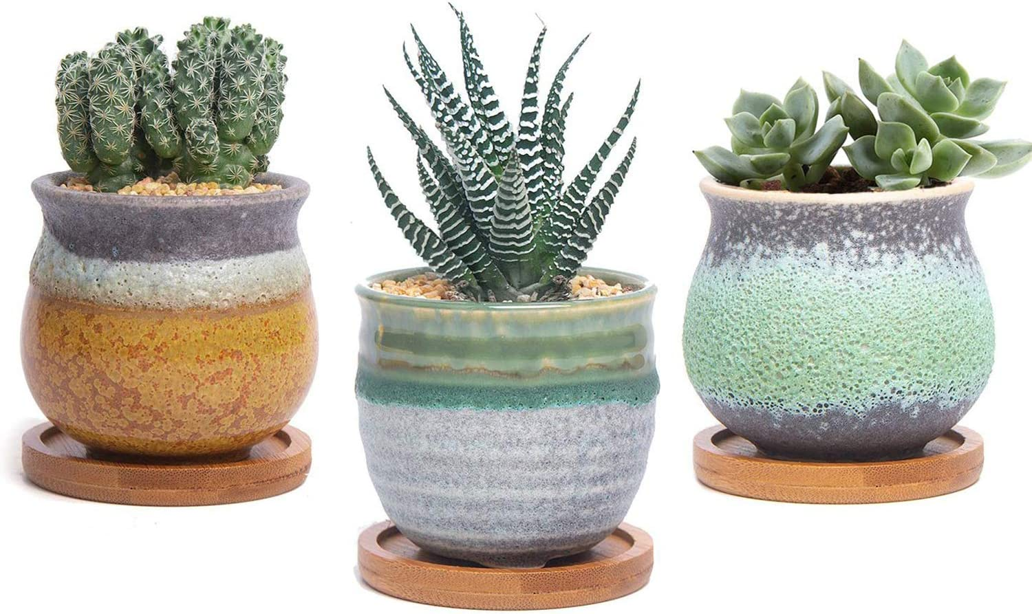 T4U 2.5 Inch Small Ceramic Succulent Pots with Bamboo Tray Set of 3, Sagging Glazed Porcelain Summer Serial Handicraft as Gift for Mom Sister Best for Home Office Table Desk Windowsill Decoration