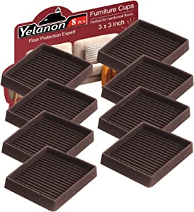 Furniture Caster Cups 8 Pcs - Yelanon 3X3 Inch Square Rubber Furniture Coasters Cups with Anti-Sliding Floor Grip - Rubber Bed Stoppers Floor Protectors - Non Skid Furniture Pads for Hardwood Floors