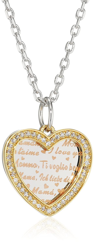 Uniqueen Mum I Love You Heart Birthstone Pendant Necklace Chain OmdJLO