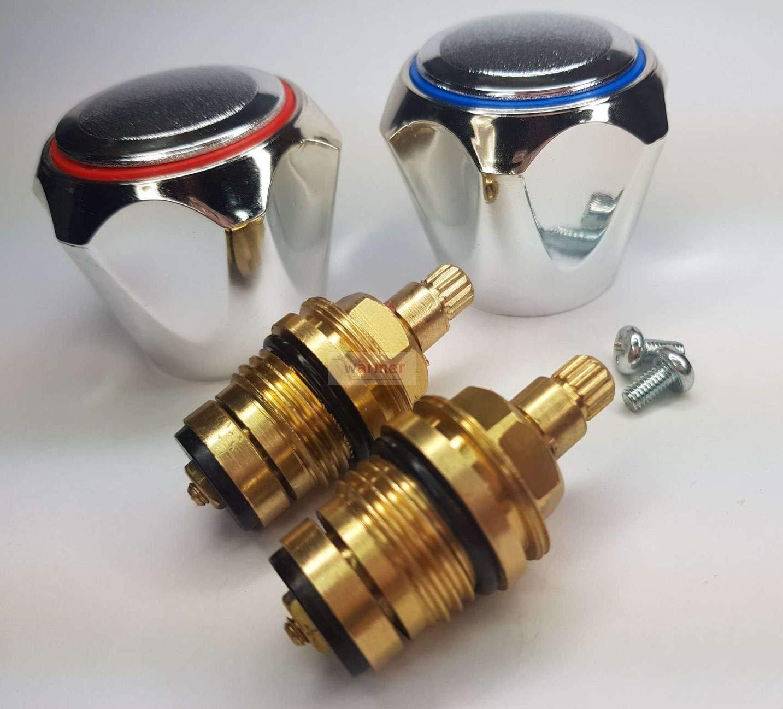 W/ärmer System Robinet de remplacement standard chaud et froid 2 cm T/ête chrom/ée Rouge et bleu