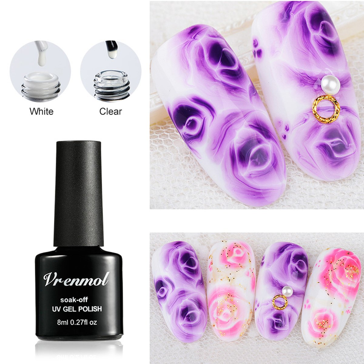 Amazon Com Vrenmol 2 Colors Blossom Gel Polish Soak Off Uv Led White Clear Magic Blooming Gel Beautiful Flower Nail Art 0 27 Fl Oz Beauty