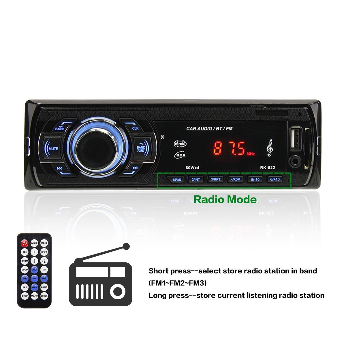 POMILE Car Stereo Audio Receiver Bluetooth, Car Radio MP3 Player Single Din In-Dash USB/SD/FM/AUX/MMC with Remote Control 12V, (No CD/DVD) by POMILE (Image #4)