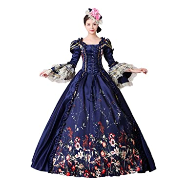e1783de0c284 Women Lace Printed Marie Antoinette Dress Southern Belle Victorian Period  Ball Gown Reenactment Clothing (S