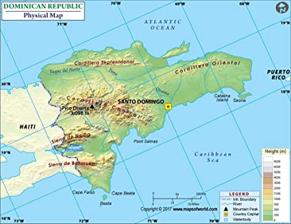 Amazon.com : Dominican Republic Physical Map - Laminated (36\