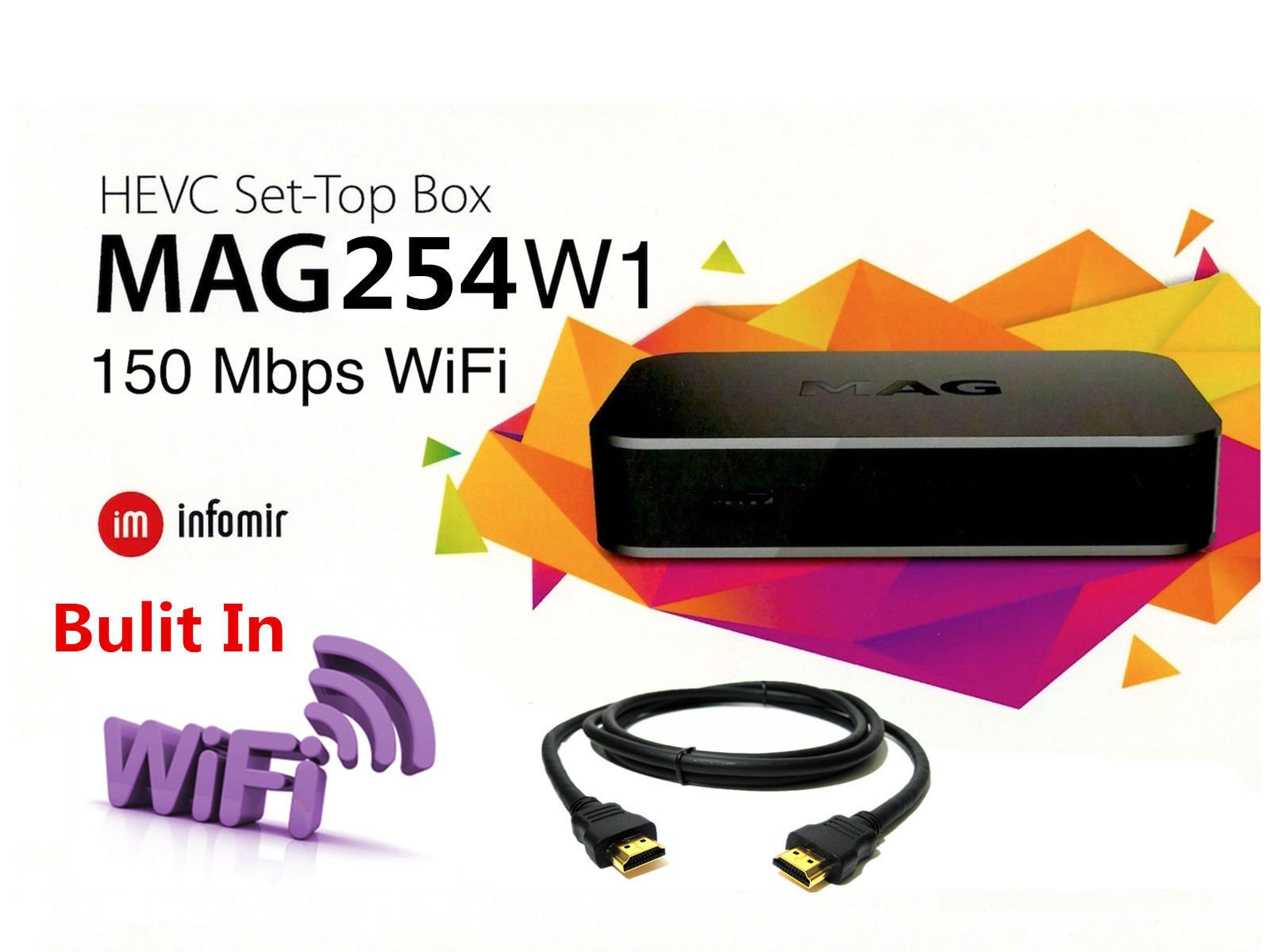 MAG 254 W1 Multimedia Player With Built-In 150Mbps Wi-Fi and HDMI Cable by Infomir