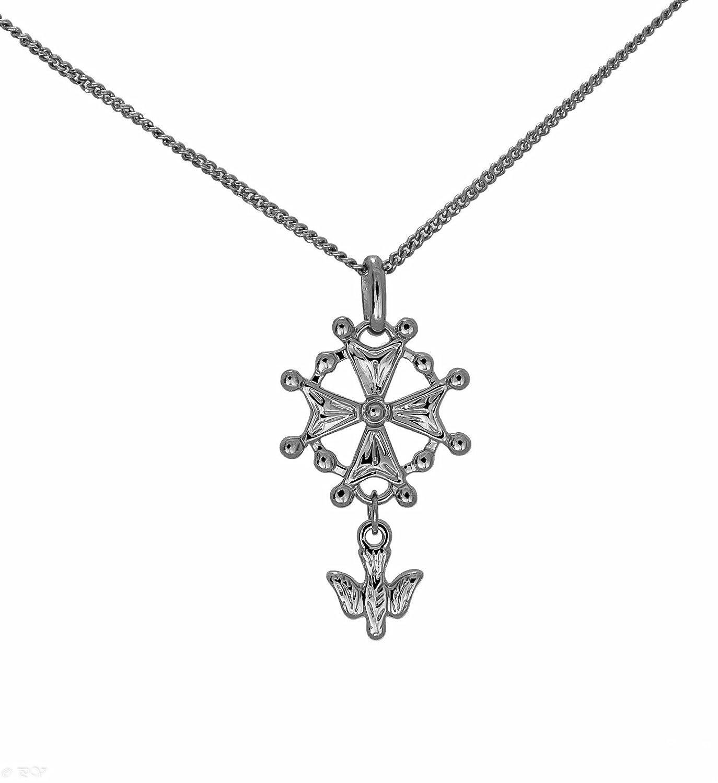 Parure in argento massiccio rodiata Ciondolo Croce Ugonotta protestante e catena 50cm insieme nella sua scatola regalo per uomo ASCALIDO asca748548