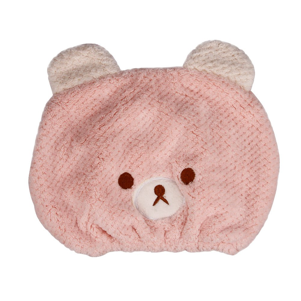 Girls' Super Absorbent Hair Drying Wrap Towel Hat Cartoon Cute Bear Coral Velvet Wet Hair Dry Turban Wrap Quick Dry Head Towel Cap Hat for Bathing Shower Washing Hair Spa Towel for Kids, Pink Moonlove