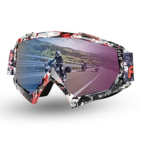 Fodsports Motorcycle Motocross Goggles Anti UV Safety Goggles Dirt Bike Goggles Dustproof Motorcycle Glasses for Cycling Riding Climbing Skiing (D ...