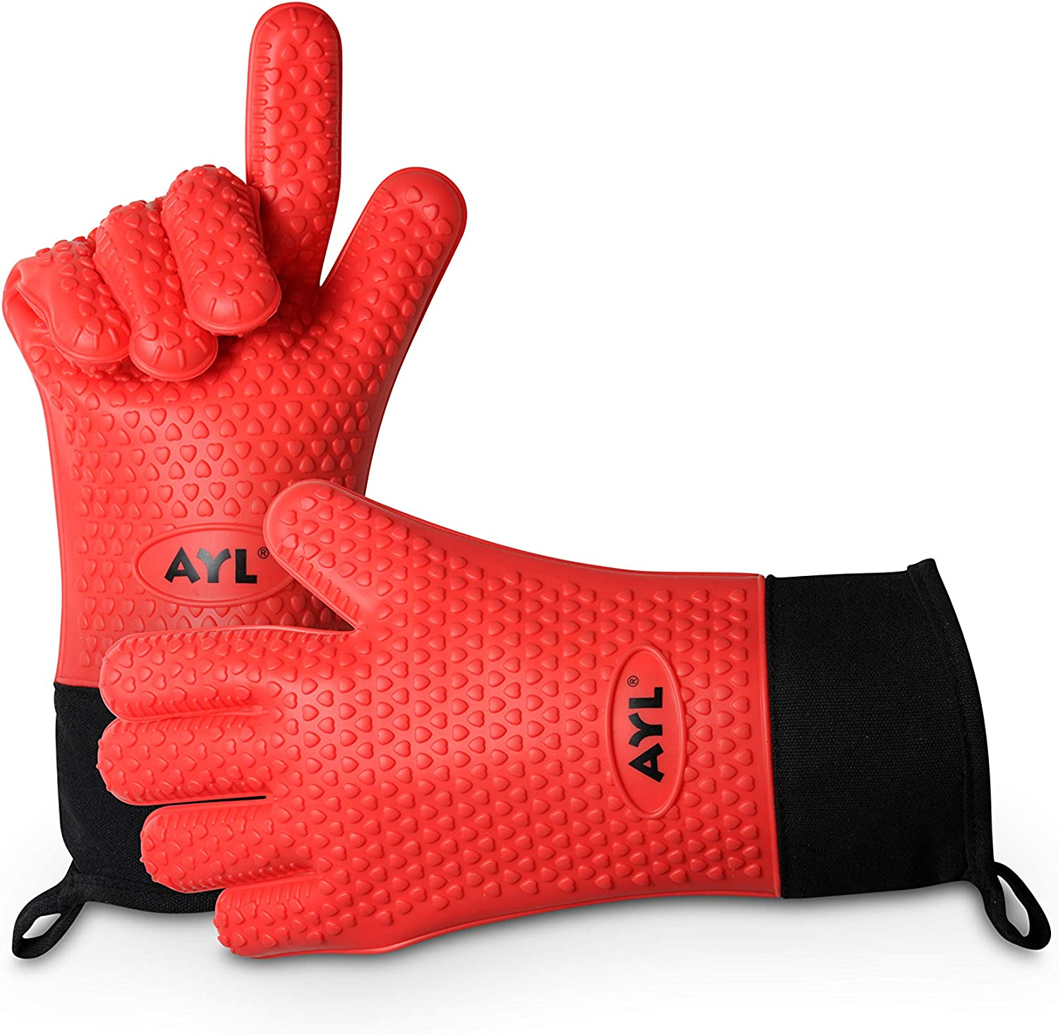 AYL Long Silicone Cooking Gloves - Long Sleeves, Heat Resistant Oven Mitt for Grilling, BBQ, Kitchen, Baking - Safe Handling of Pots and Pans - Internal Protective Cotton Layer (Red Extra Long)