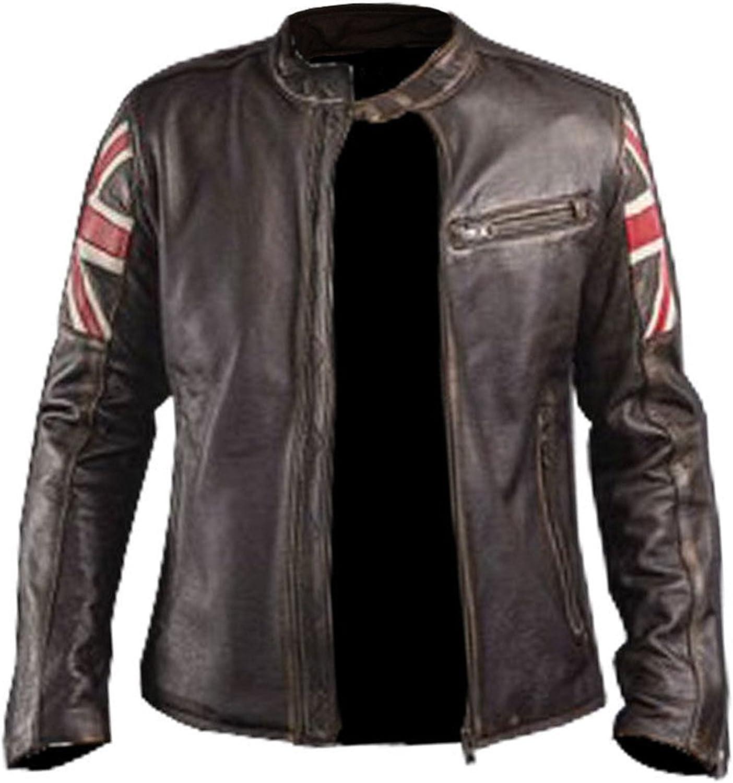Mens Brown Flag Leather Jacket UK Flag Leather Jacket Cafe Racer Leather Jacket Union Jack Jacket