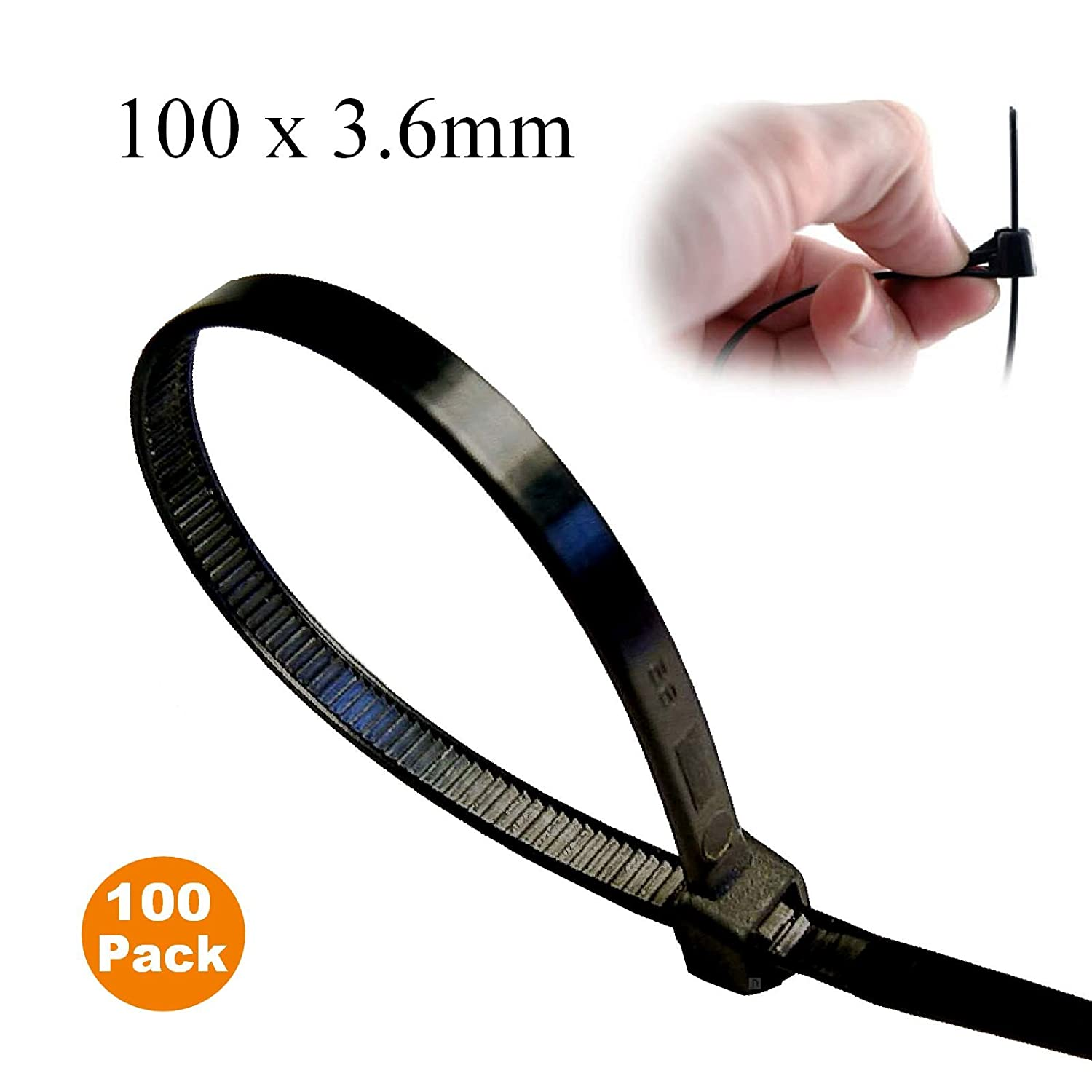100 x Black Releasable Cable Ties 100mm x 3.6mm Reusable Wire Tidy Zip Wrap Straps Homesmart 4330226096