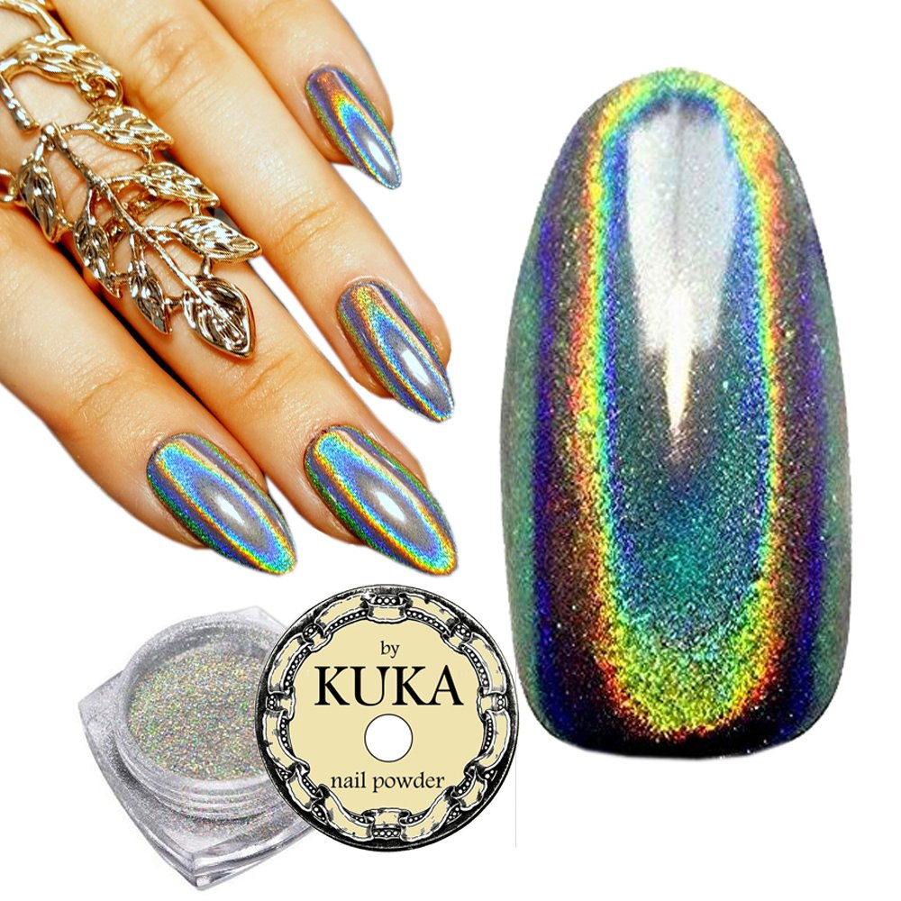 KUKA Ultra Shiny 15 μm Holographic Unicorn Rainbow Colour Changing Laser Rainbow Nail Powder Chrome Pigment Manicure Nail Art Chocokyka