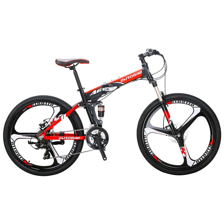 EUROBIKE MTB マウンテンバイク A6 アルミ合金フレーム 21速 折りたたみ自転車 前後ディスクブレーキ 3つのスポーク車輪 マウンテンバイク B078J3QT94 赤 赤