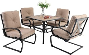 "Sophia & William Patio Dining Set 5 Piece Outdoor Table Furniture Set with 4 Metal Spring Motion Dining Chairs and 1 Square Bistro Deck Table with 1.57"" Umbrella Hole & Wood-Like Top, Beige"