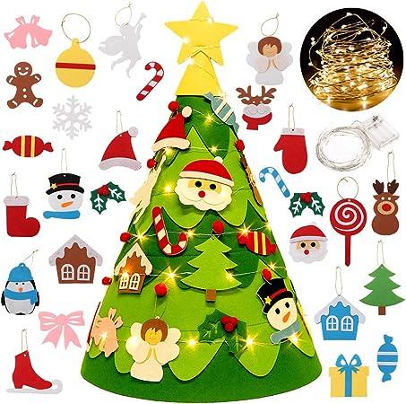 Albero Di Natale X Bambini.Fansport Albero Di Feltro Di Natale Per Bambini Con 28 Ornamenti Christmas Craft Kit Amazon It Casa E Cucina