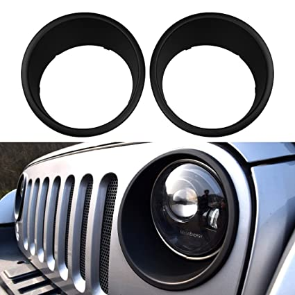 IParts Black Bezels Front Light Headlight Trim Cover ABS For Jeep Wrangler  Accessories Rubicon Sahara Jk