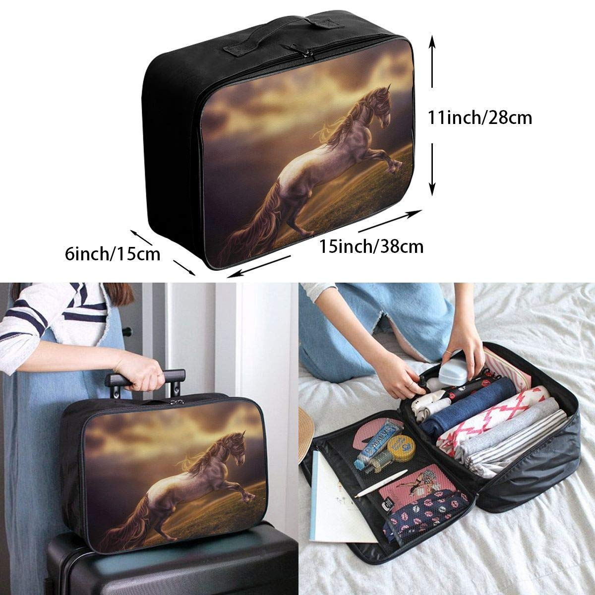 Travel Luggage Duffle Bag Lightweight Portable Handbag Fantasy Running Horse Print Large Capacity Waterproof Foldable Storage Tote