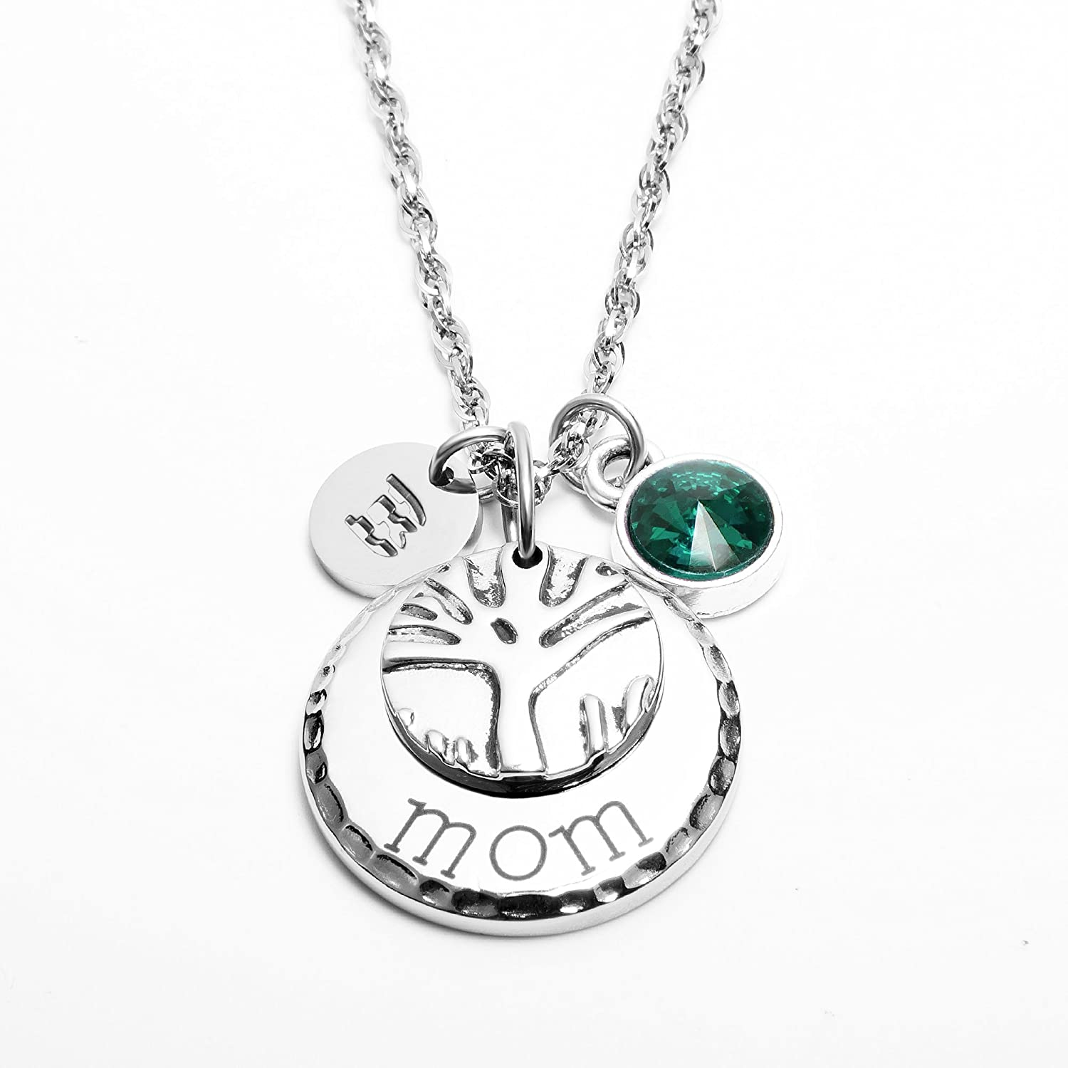 IMEIM Jewelry Mom Family Tree Necklace Personalized Mother Necklace with Birthstones Crystal Initial Charm for Mom Wife Aunt Grandma