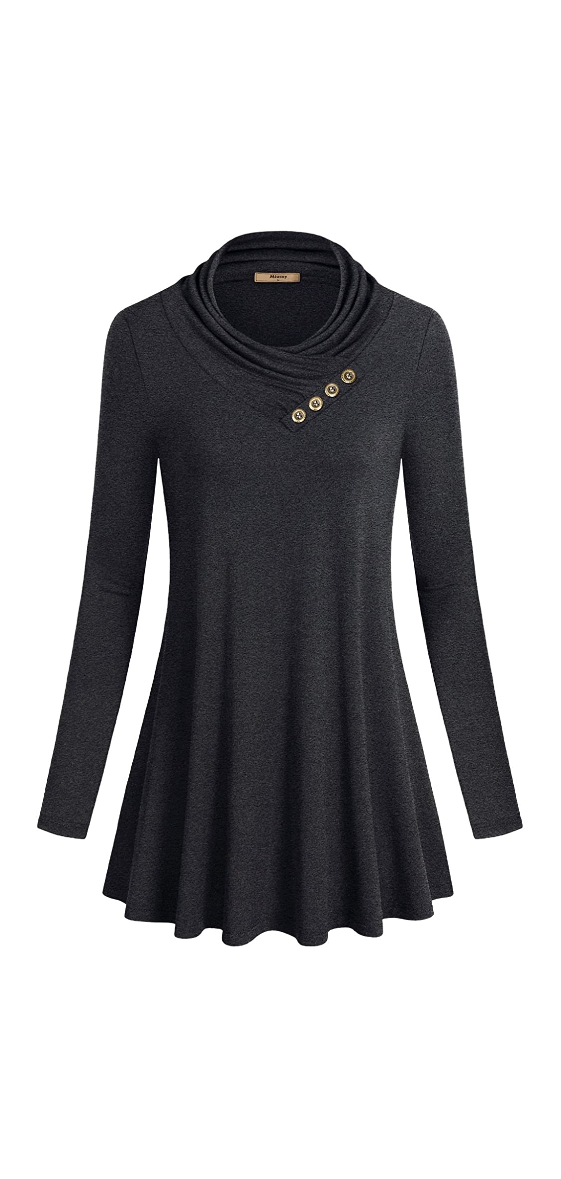 Women's Long Sleeve Cowl Neck Form Fitting Casual Tunic