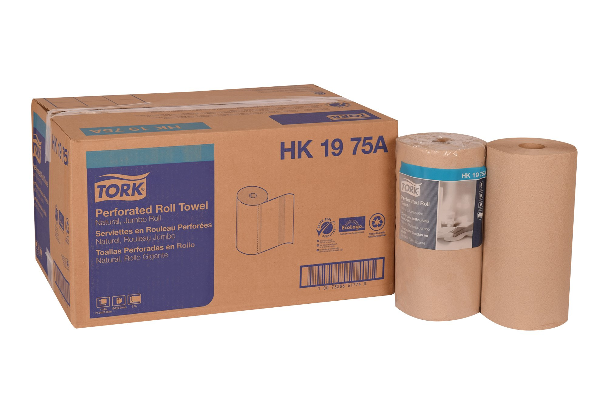 Tork HK1975A Perforated Roll Towel, Jumbo Roll, 2-Ply, 11'' Width x 9'' Length, Natural, Green Seal Certified (Case of 12 Rolls, 210 per Roll, 2,520 Towels)