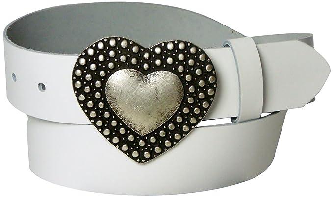 ead7108554d4 Fronhofer Ceinture cœur de 4 cm de large   Ceinture en cuir   Grande boucle  de