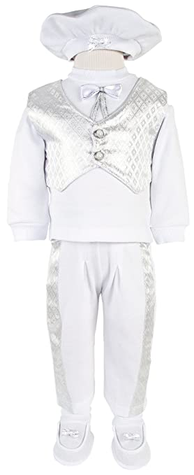 6cfdf7b3aad Leylek Baby Boy Christening Baptism Infant Cotton Outfit with Vest 5 Piece  Set 0-4