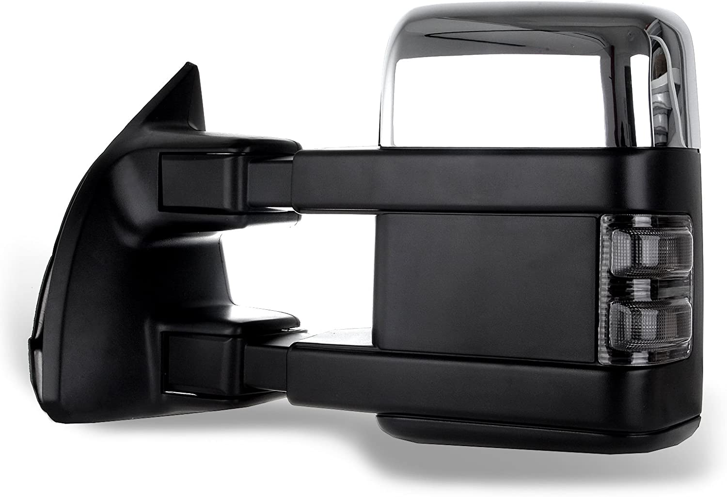 Heated Turn Signal Manual Extending Folding SCITOO fit Ford Towing Mirrors Chrome Rear View Mirrors fit 2008-2016 Ford F250 F350 F450 F550 Super Duty Truck Larger Glass Power Control