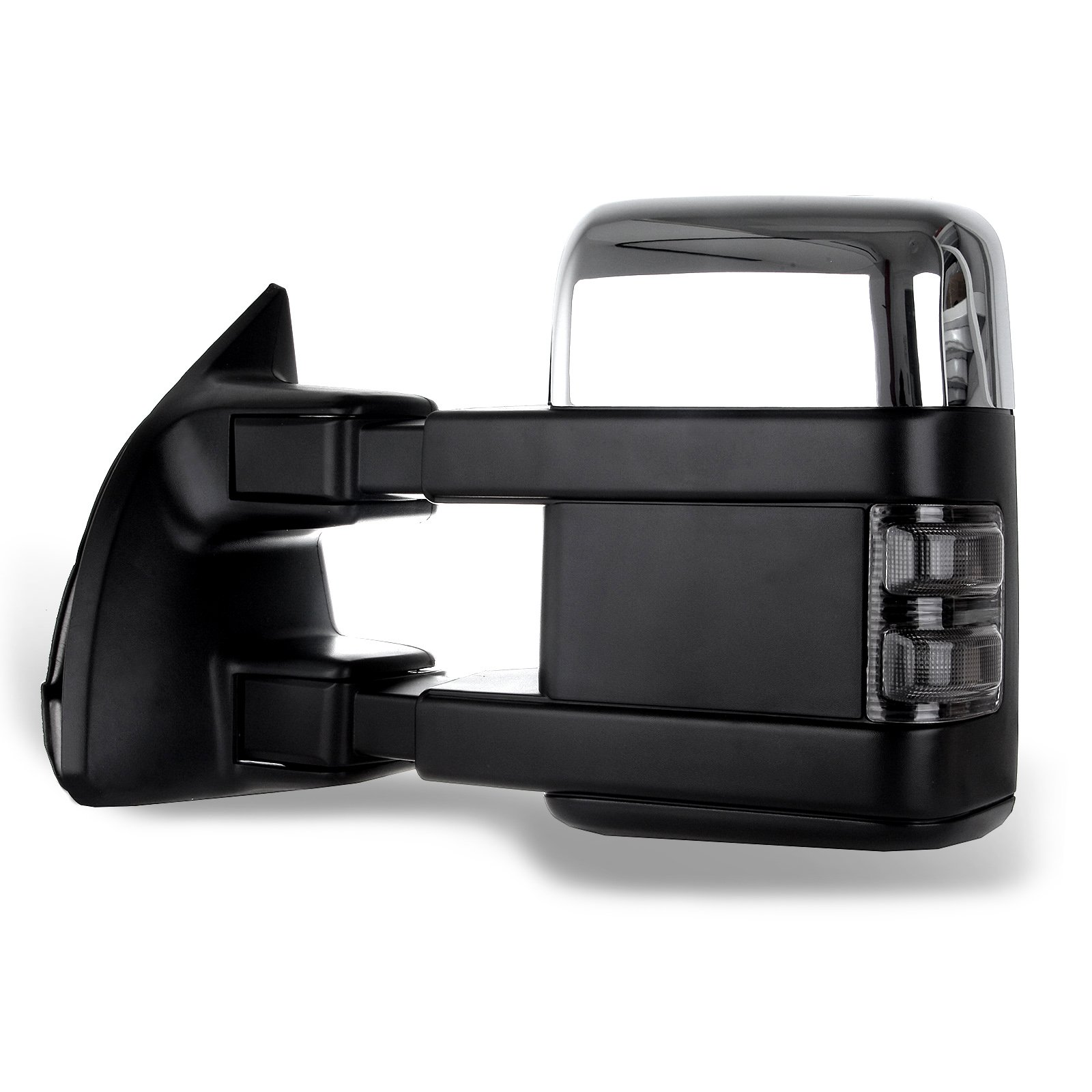 SCITOO fit Ford Towing Mirrors Chrome Rear View Mirrors fit 2008-2016 Ford F250 F350 F450 F550 Super Duty Truck Larger Glass Power Control, Heated Turn Signal Manual Extending Folding by SCITOO (Image #5)
