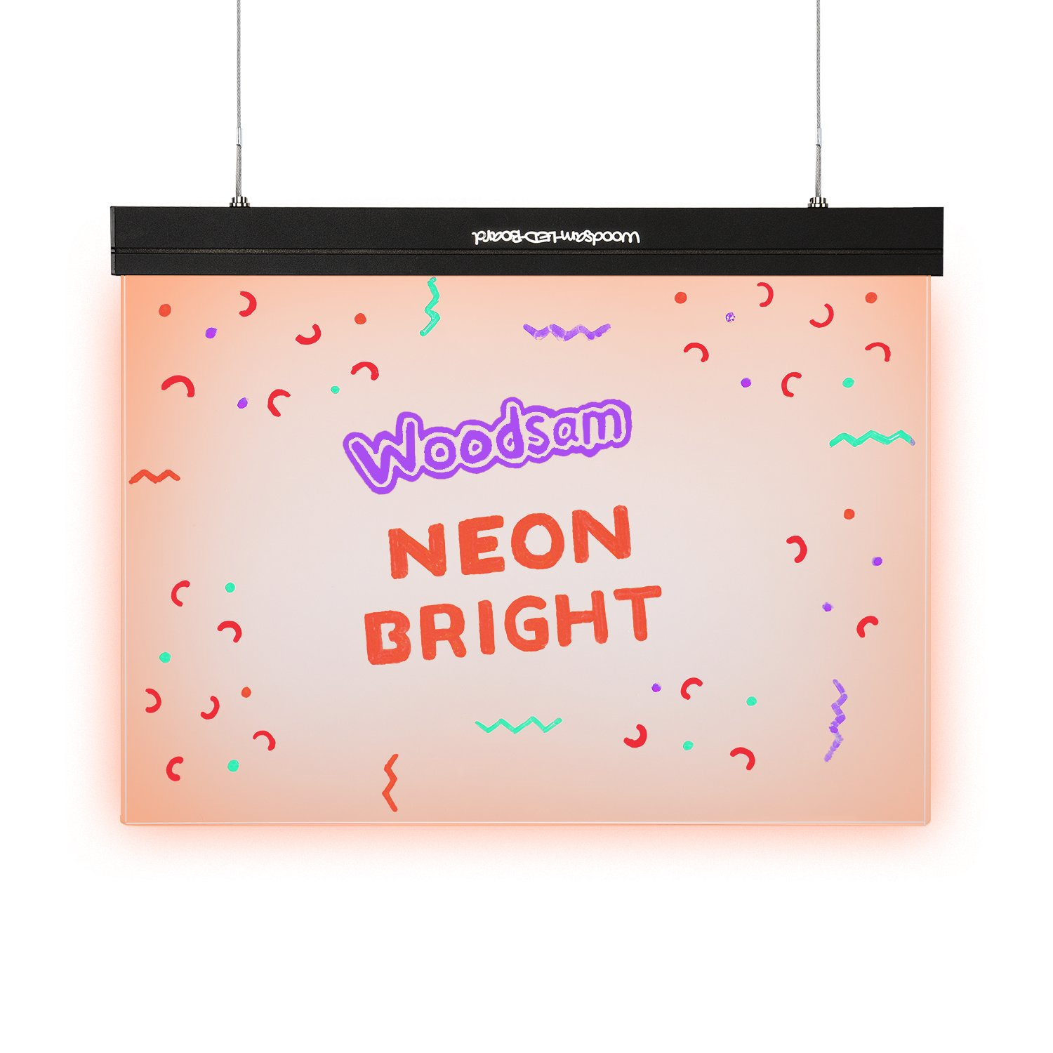 Woodsam LED Writing Drawing Board - 16'' x 12'' Illuminated Erasable and Non Porous Clear Glass Surface with 2 Fluorescent Liquid Chalk Markers - Great for Kids Home Business Office Holiday Gift