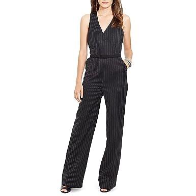 477ed12881b4 Amazon.com  Lauren by Ralph Lauren Faux Wrap Pinstripe Jumpsuit ...