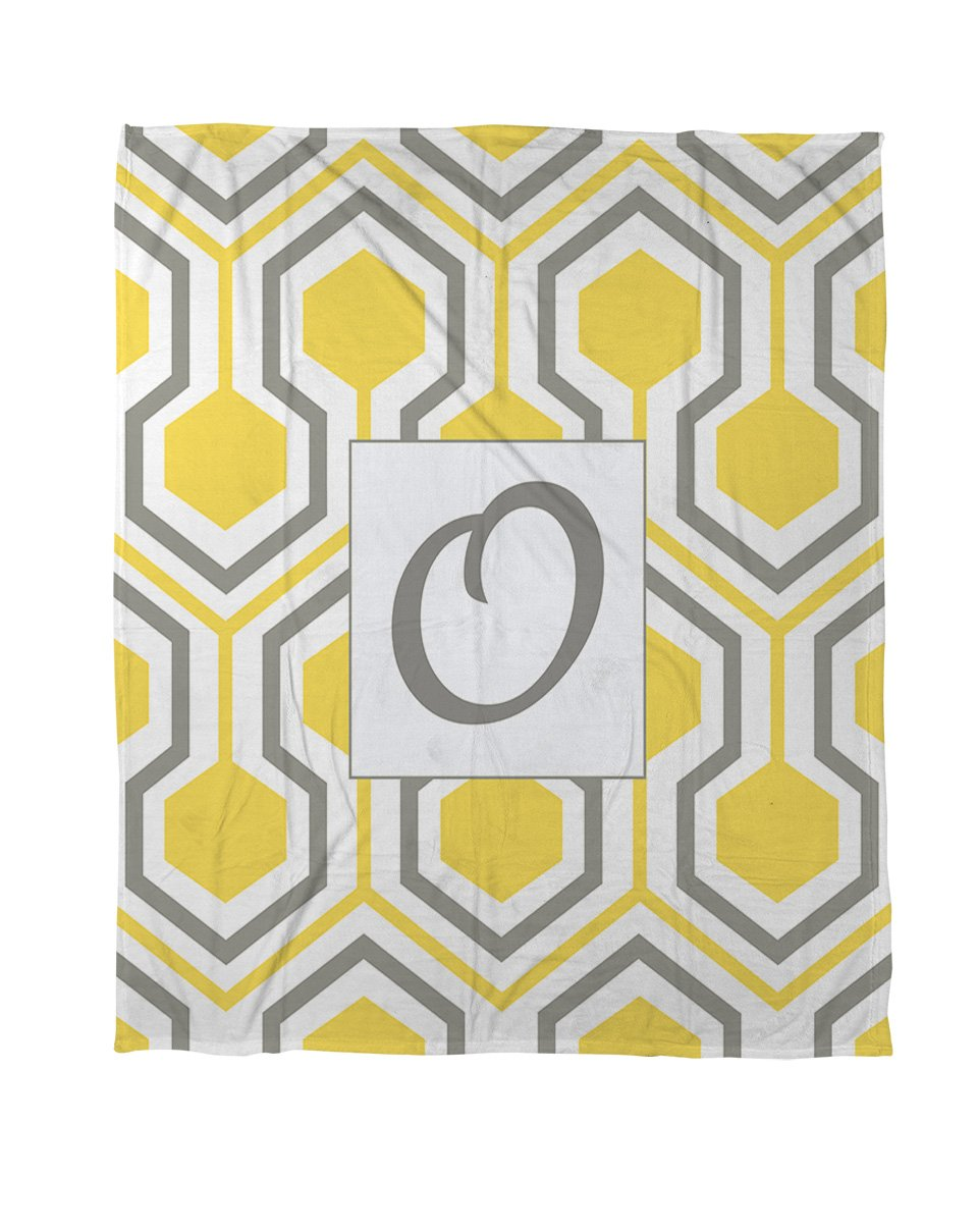 Manual Woodworkers & Weavers Duvet Cover, Queen/Full, Monogrammed Letter O, Yellow Honeycomb