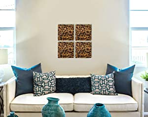 Set Of Wooden Mosaics, Wooden Wall Art, Burn Wood Decor, Rustic Wall Decor, Set Of 4