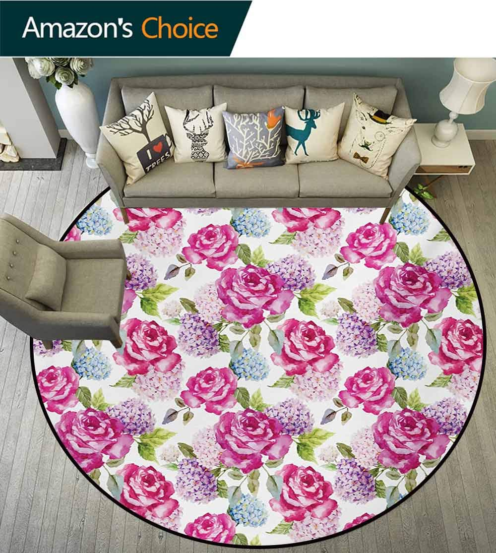 RUGSMAT Shabby Chic Small Round Rug Carpet,Watercolor Abstract Lavenders Leaves Buds Artwork Print Door Mat Indoors Bathroom Mats Non Slip,Diameter-47 Inch Hot Pink Purple and Pale Green