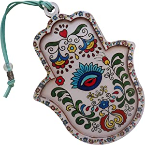 ClipGrip Artistic Hamsa Hand Wall Decor Hanging Priestly Blessing Evil Eye Protection for Home & Gift 6.5""