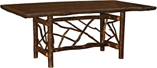 product image for Hickory Twig Log Dining Table Ornate Bark On Legs Custom Sizes Armor Finish