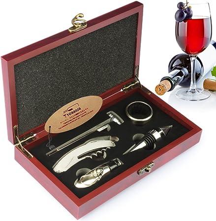 Compra YOBANSA Juego de sacacorchos de camarero, juego de accesorios de vino, juego de abridor de botellas de vino, tapón de vino, vertedor de vino(caja rojiza 5 piezas) en Amazon.es