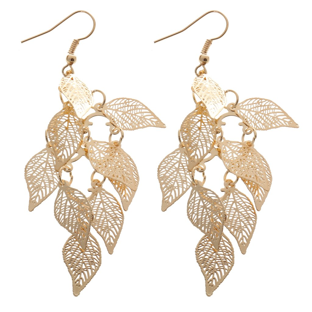 Fashion Drop Copper Leaf Design Earring Women Charms Jewelry Gift Gold Generic STK0156011561