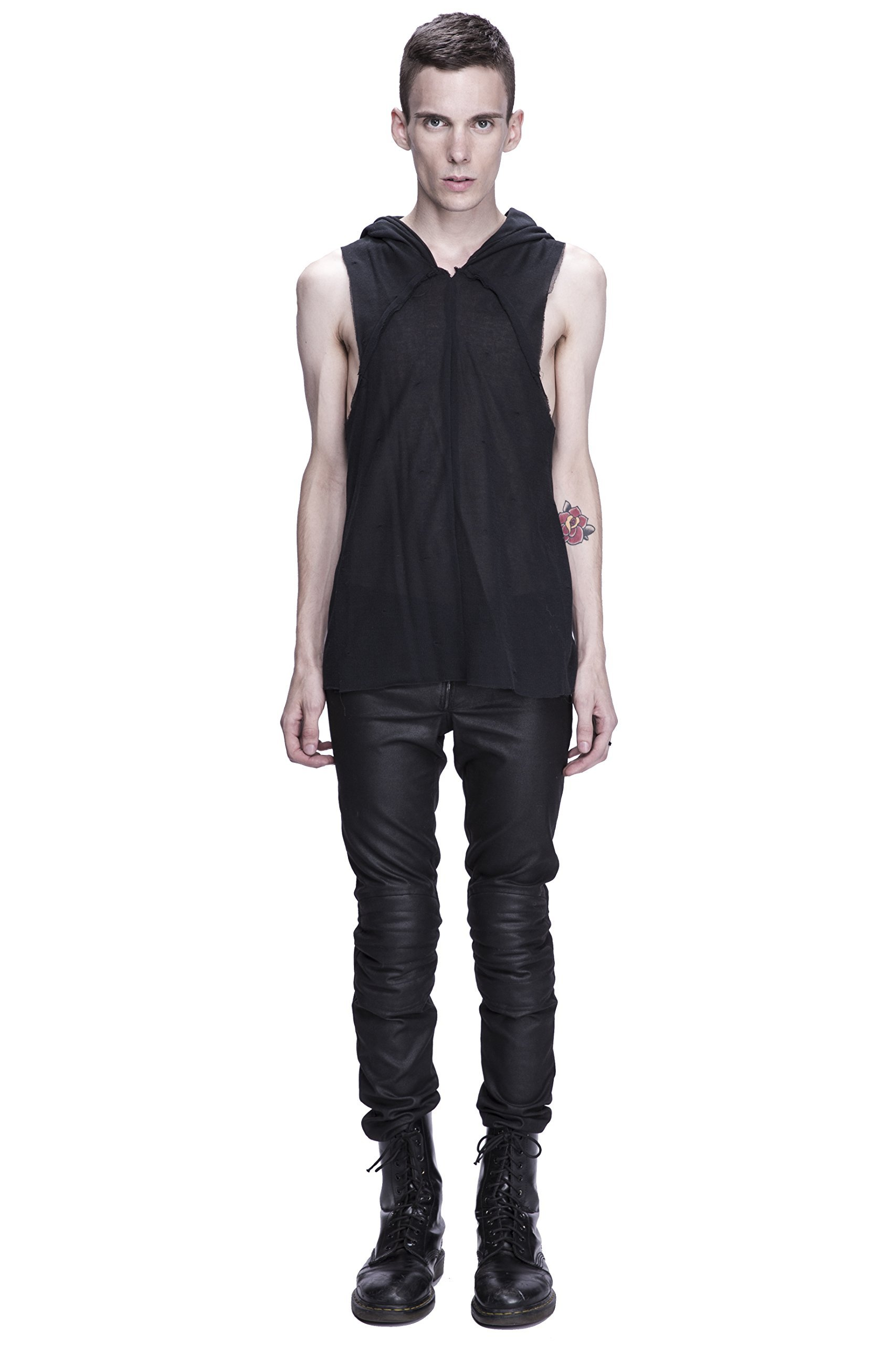 Unisex Dual Layer Draped Hooded Tank Top