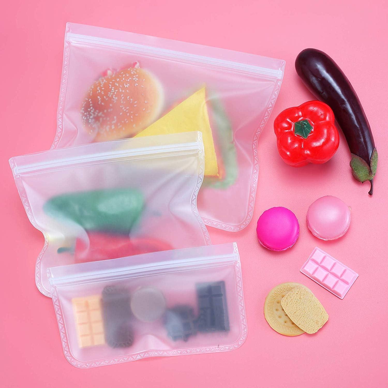 in PEVA 6 Pezzi Sacchetti riutilizzabili per alimenti igienici e a tenuta stagna per la Conservazione di Sandwich Guarnizione lavabili spuntini Frutta Carne frigorifero Verdura senza BPA