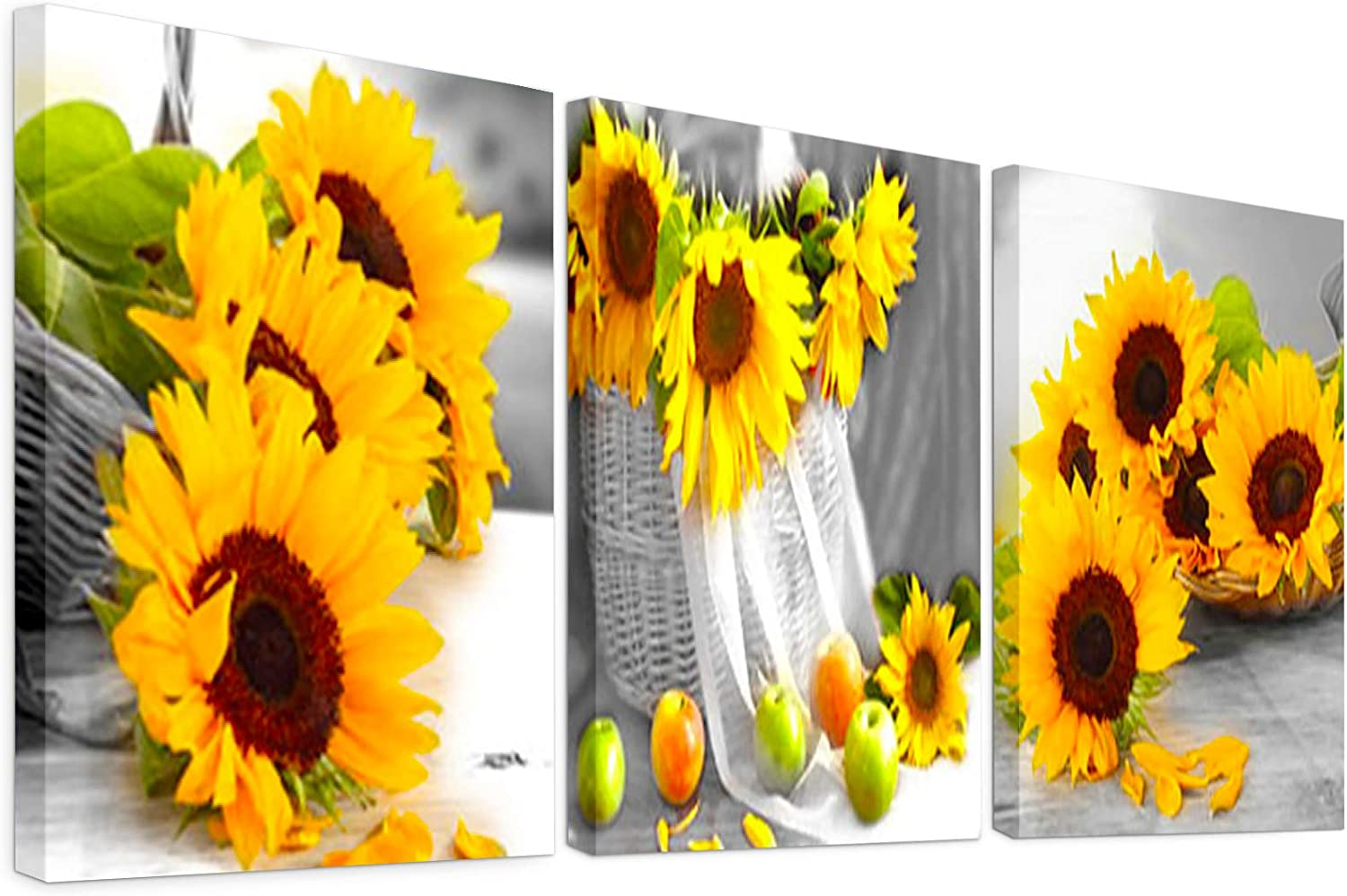 sunflower kitchen decor bathroom wall art for living room paintings yellow rustic photo accessories dining room decoration pictures things canvas farmhouse artwork for home country (3 piece no framed)
