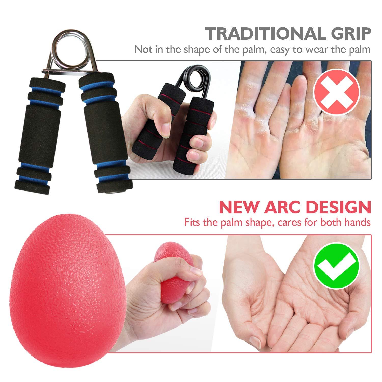 Muscleur de Main Lot de 3 Egg Ball de R/ésistance diff/érente Exercice de Renforcement de la Main Peradix Balle reeducation de la Main et Doigts Anti-Stress Incassable