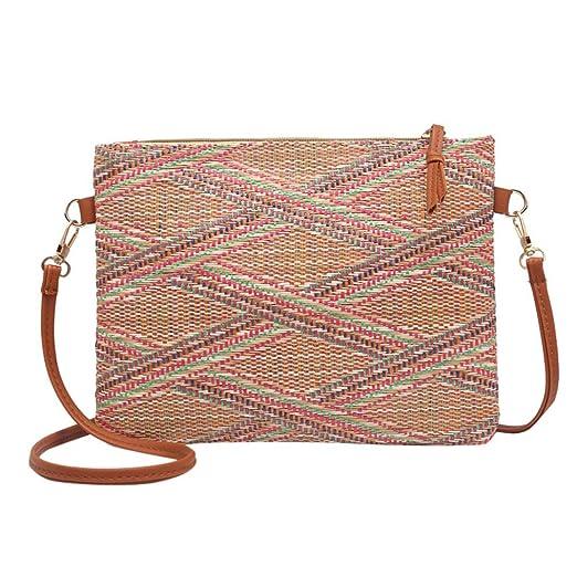 a02b9de7d7c6 Amazon.com: Kimloog Women Straw Small Shoulder Bag Geometric Pattern ...