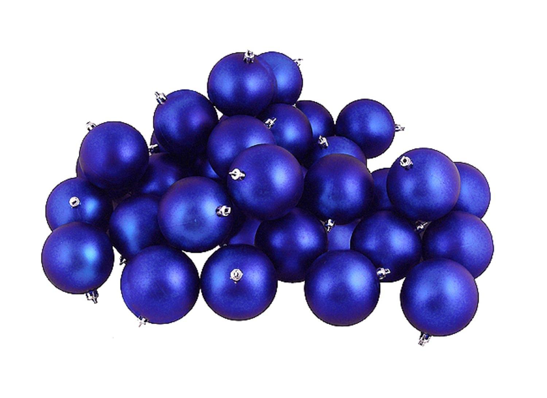 Northlight 60ct Matte Lavish Blue Shatterproof Christmas Ball Ornaments 2.5'' (60mm)